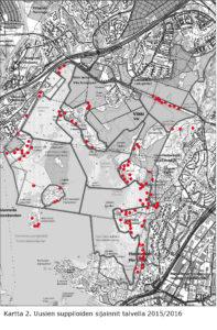 Kartta 2. Uusien suppiloiden sijainnit(2)